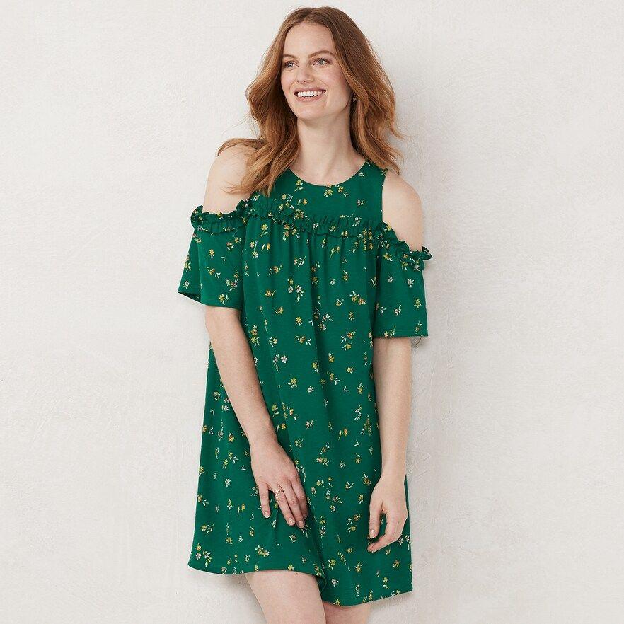 1d7839587d0750 Petite LC Lauren Conrad Ruffle Cold-Shoulder Dress, Women's, Size: XL Petite,  Dark Green