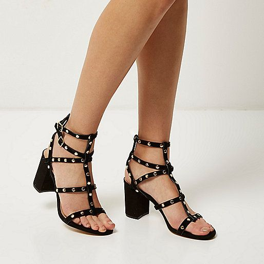882b86bb9a2 Black suede studded gladiator heels Block Heels Outfit