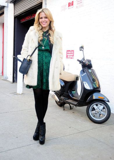 New York Fashion Week: Jade dress, black tights and a cream coat