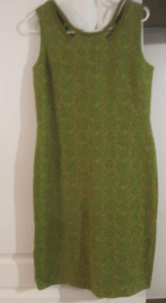 Vintage Mod  Tricosa Pure  Wool Textured Dress Shift  Green  Beige Size 14
