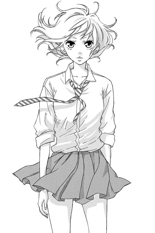 Black And White Pencil Sketch Of An Anime Manga Schoolgirl With Windblown Outfit