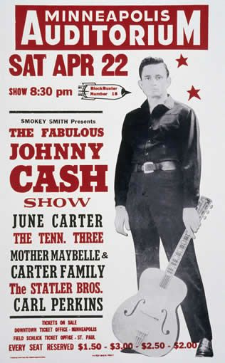 Johnny Cash reprint from the legendary Hatch Show Print in Nashville, Tennessee