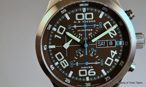 N B Y NBY No Barriers Yeager Charlie Chronograph 42mm 100M Longflight Germany | eBay