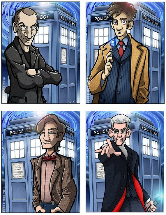 Dr. Who 12 Doctor collection TWELVE prints by Yonimation on Etsy #12doctor