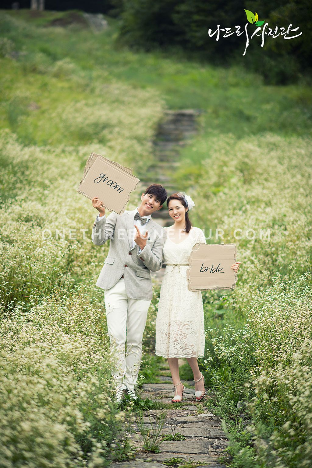 Korean studio prewedding photography green fields korean