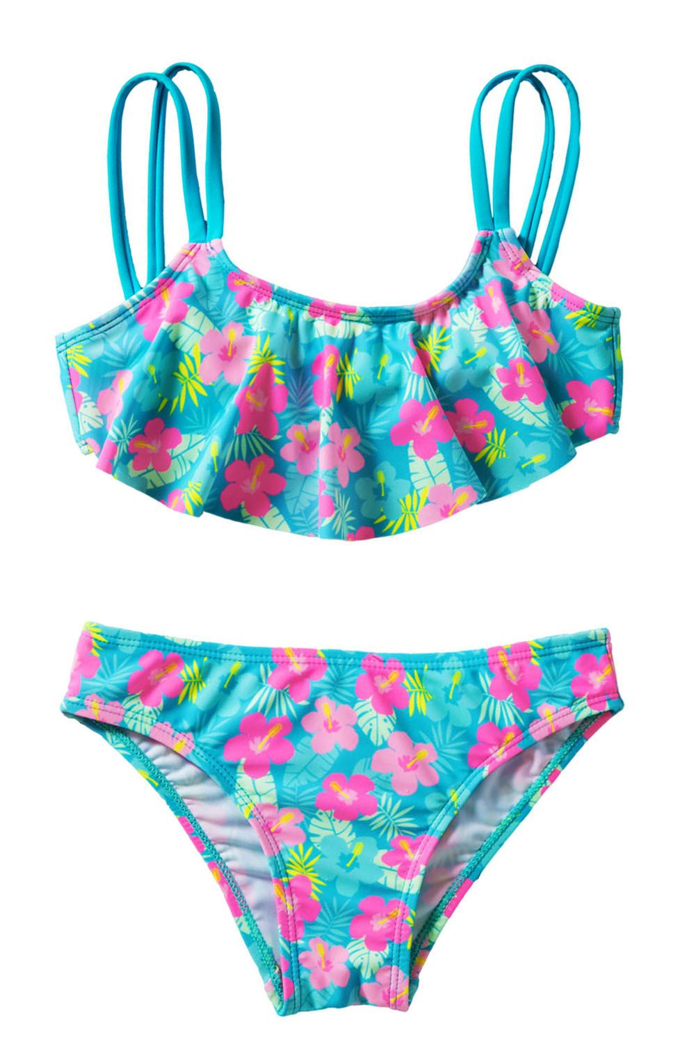 d178a7a5cd8 Girls' Ruffle Flower Print Two Piece Swimsuit Set - (5Y)M in 2019 ...