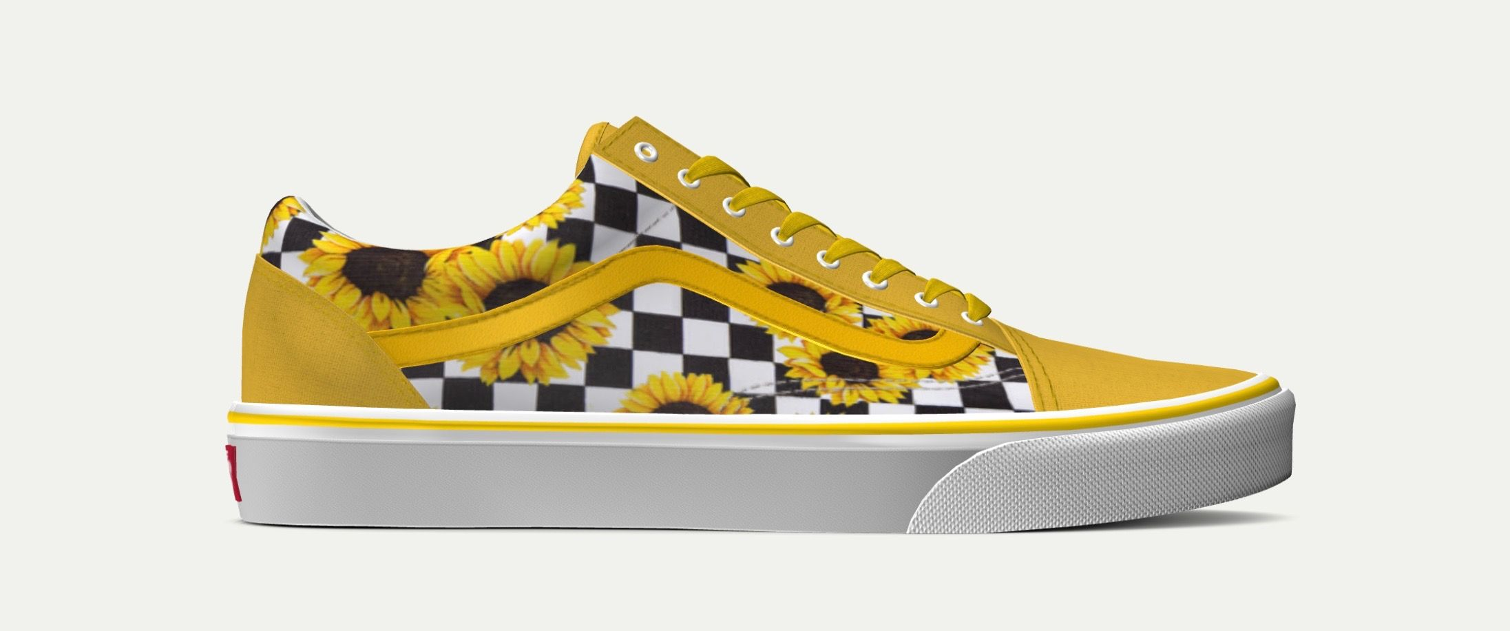 Custom yellow checkered sunflower Vans  19494f56b