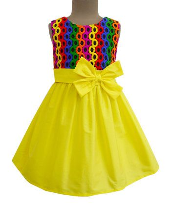 Yellow Party Hoops Double-Bow Dress - Infant, Toddler & Girls
