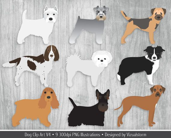 United Kingdom Dog Breeds Clipart Spaniel Collie Ridgeback Etsy Dog Clip Art Clip Art Pet Scrapbook