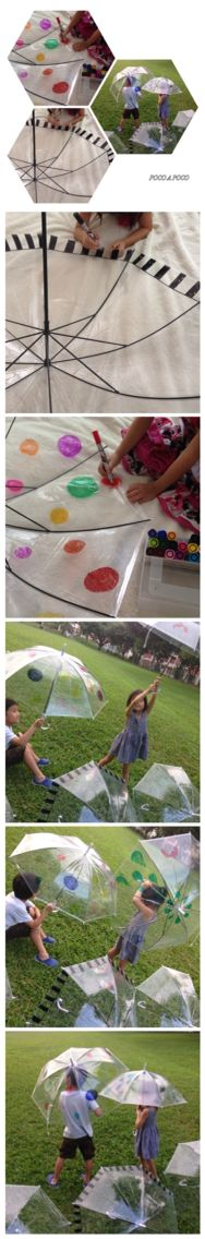 Umbrella art work   Draw a picture by an oil marker in a clear umbrella and make only the special umbrella!   I'm having for my object to choose between a umbrella in canvas and enjoy a modeling expression personally.  It's drawn freely, and it's expressed to the clear material.   It can also be used as the umbrella which enjoys under the sun! An umbrella can be seen like a stained glass.
