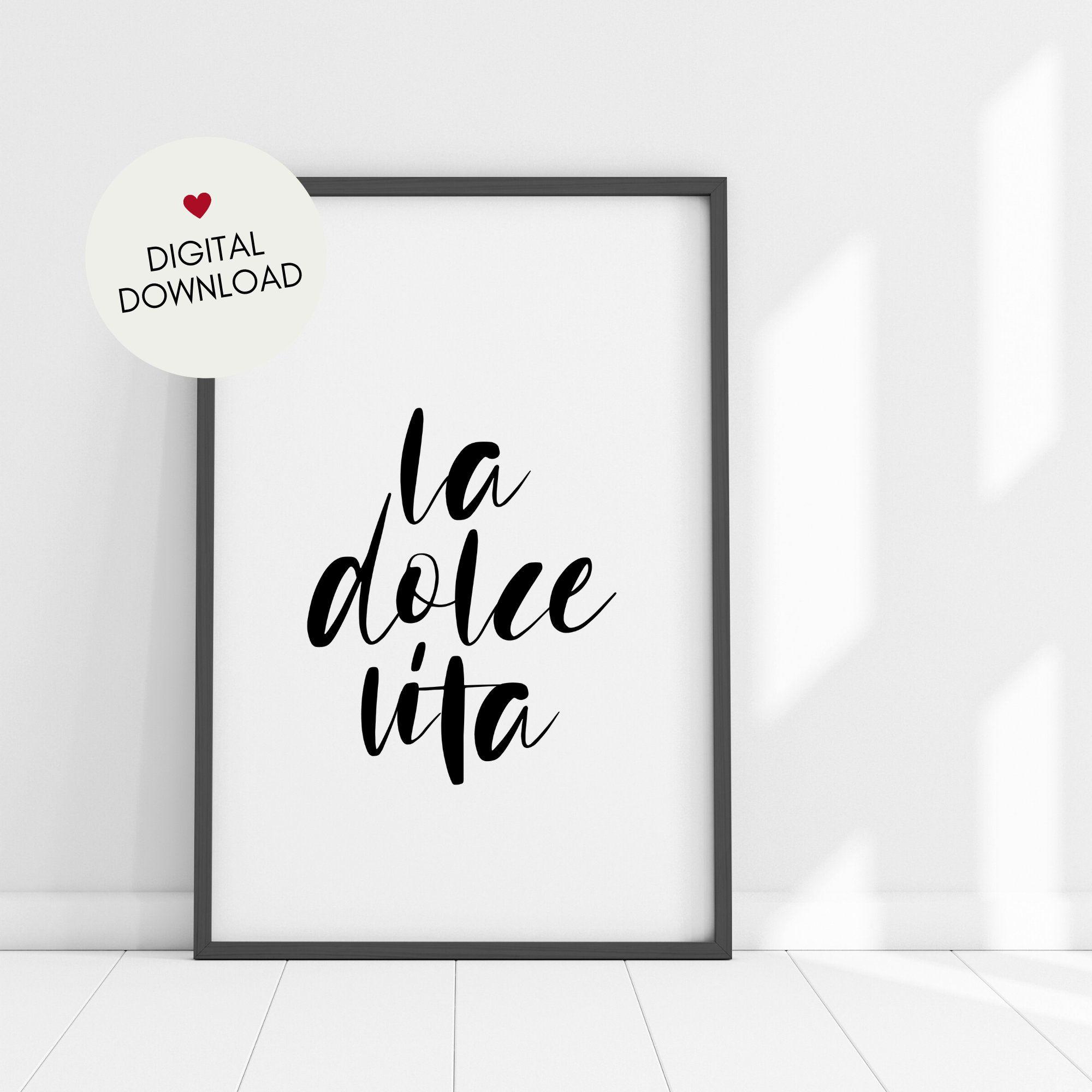 La Dolce Vita - Printable Art - Italian Quote - Minimalist Wall Decor - Instant Download