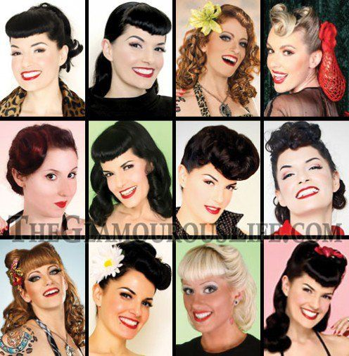 Rockabilly Hairstlyes and Pin Up haristyles are very popular, especially Victory rolls and Betty Page Bob with fringe.