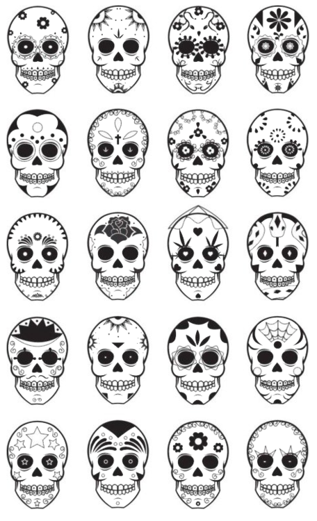 Templates for dia de los muertos, day of the dead, sugar skulls ...
