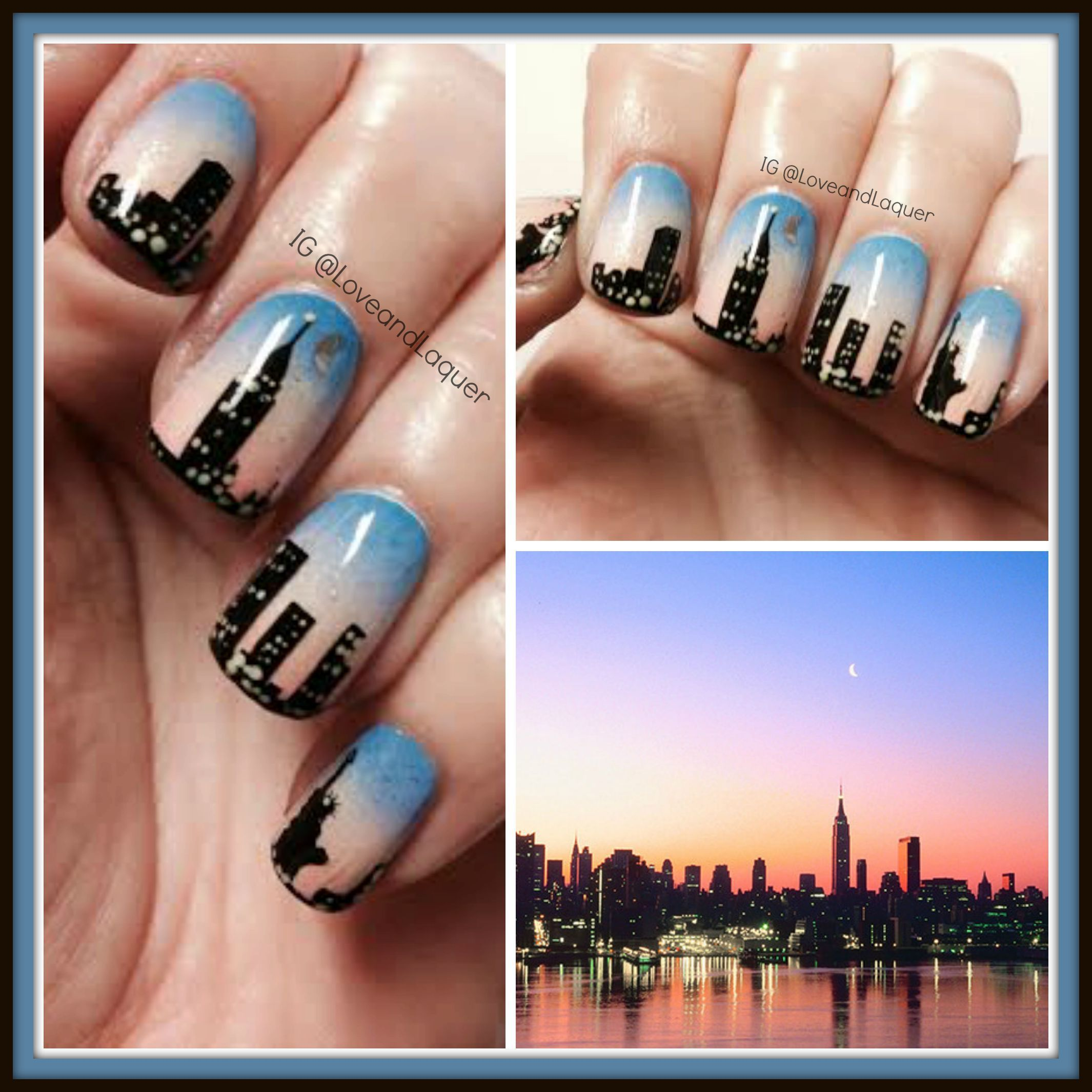 New York Skyline Nails Nail Art City Sunset Lights Moon Blue Pink Coral Purple Water Ny Nyc Nyc Nails City Nails Nails