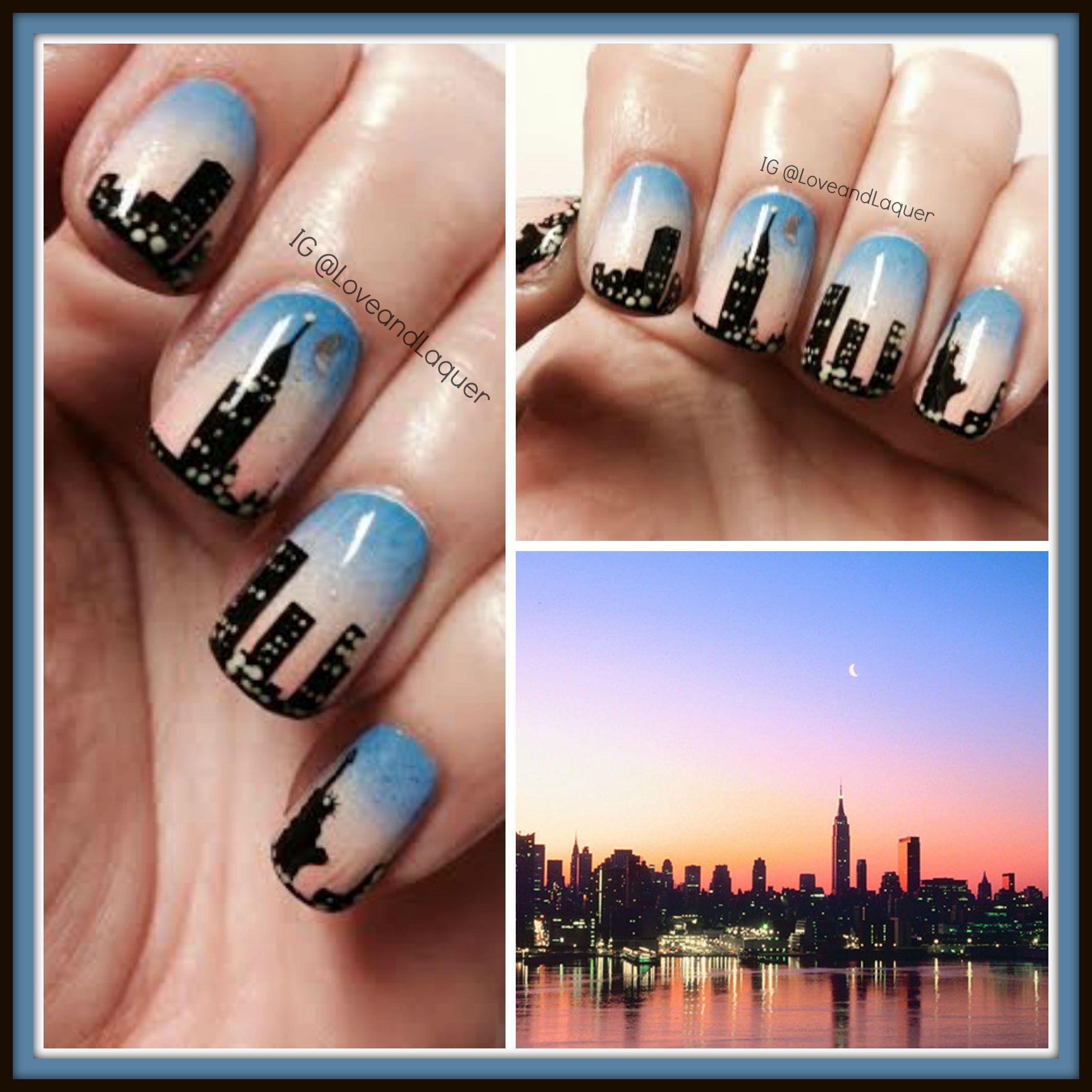 new york skyline nails nail art city sunset lights moon blue pink ...