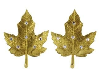 Tiffany & Company 18 Karat Gold Maple Leaf Earrings Set with Full Cut Diamond Accents