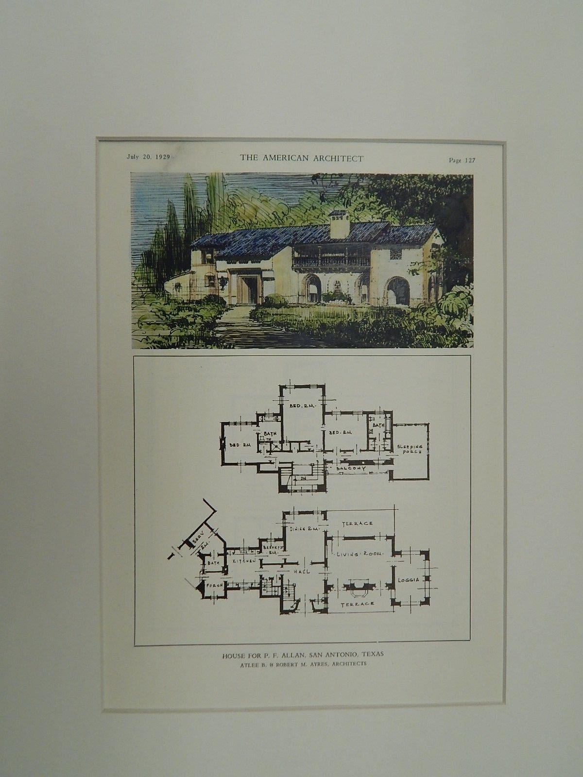 House For P F Allan San Antonio Tx Original Plan A B R M Ayres Vintage House Plans How To Plan Vintage House
