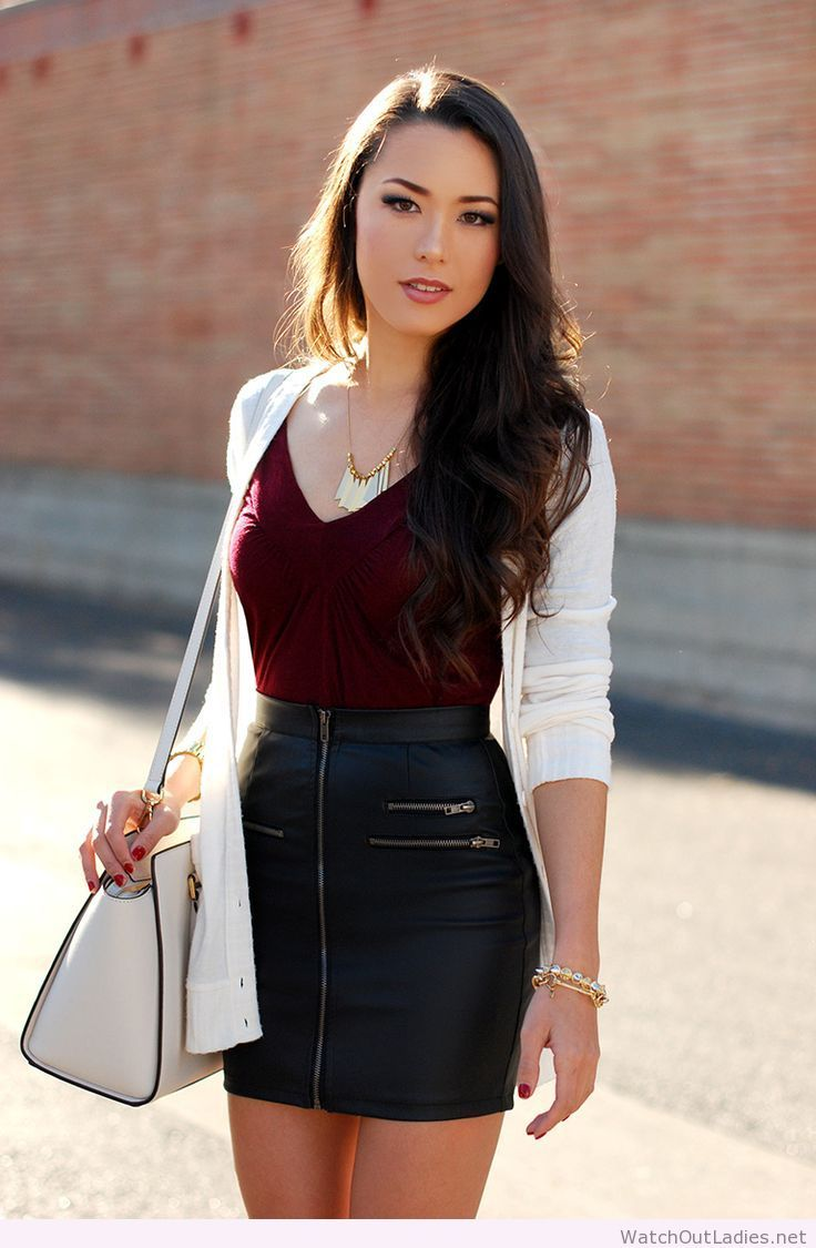 Hapa Time leather mini skirt with zipper details, red top, white ...