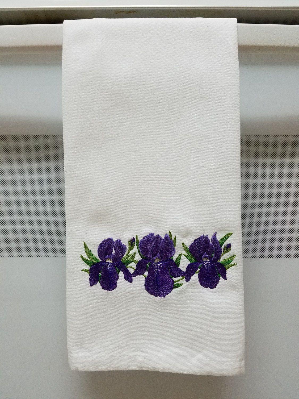 Embroidered Purple Irises/Embroidered Iris/Embroidered Flower/Iris ...