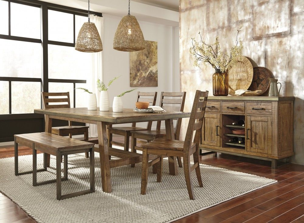 Dondie Light Brown Rectangular Table 4 Side Chairs Bench