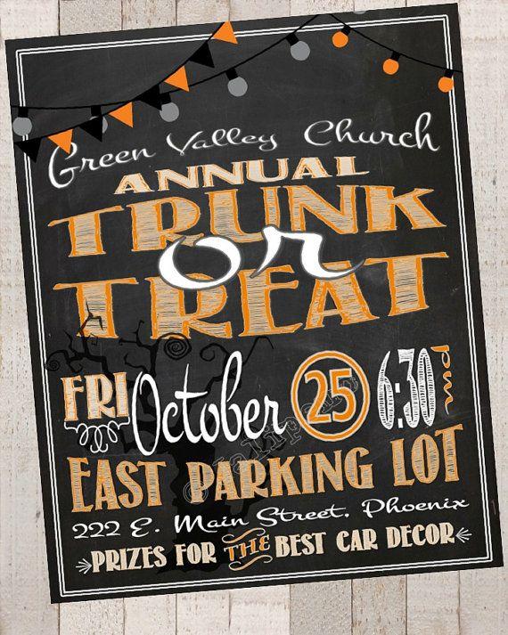 Trunk Or Treat Flyer Invitation Invite Printable Digital File