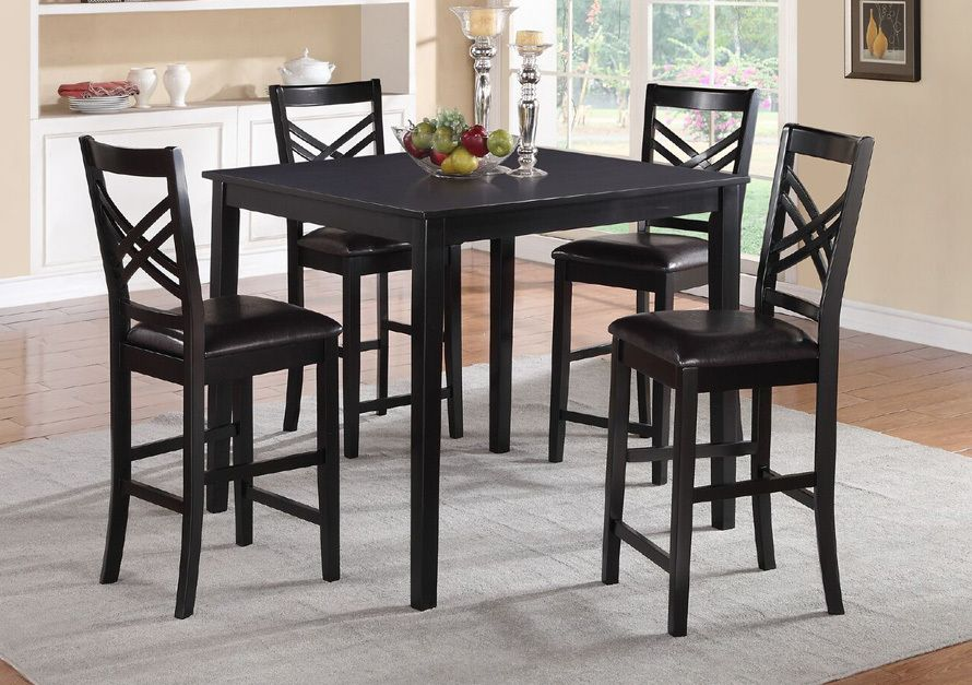 5pcs Black Square Wood Counter Dining Set W Crisscross Back Chairs Counter Height Dining Sets Brown Dining Room Set Dining Room Sets