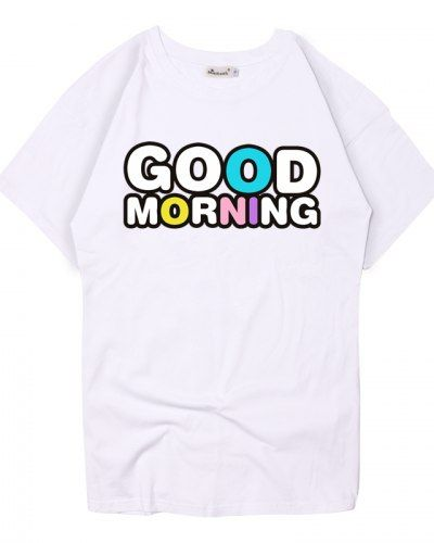 Good Morning T Shirt For Women Colorful Letter Tops Short Sleeves