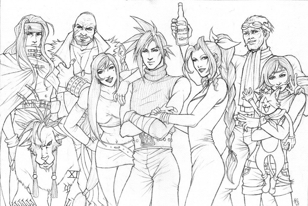 Final Fantasy 7 Players Sketch By Ludi Price Jpg 1028 687 Coloriage