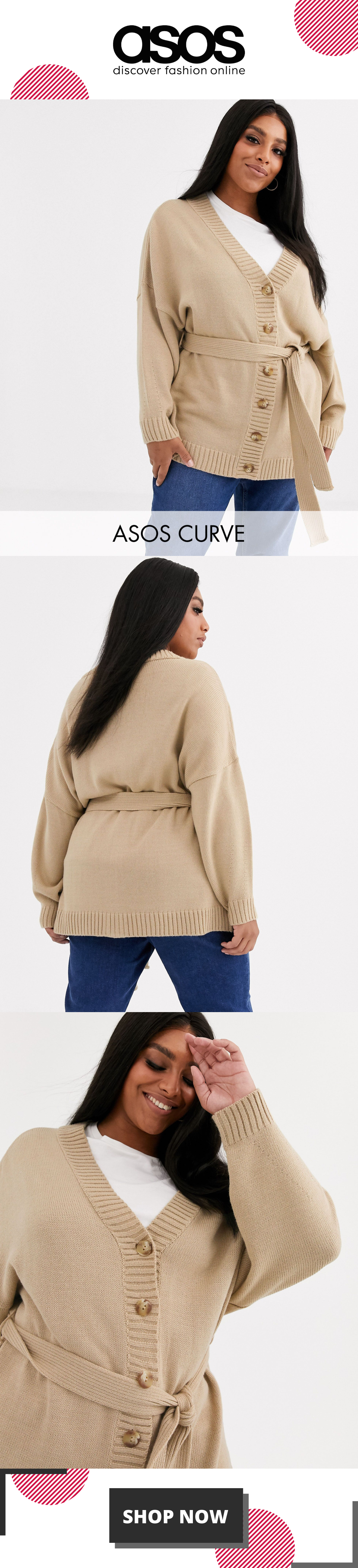 ASOS DESIGN Curve oversized belted cardigan