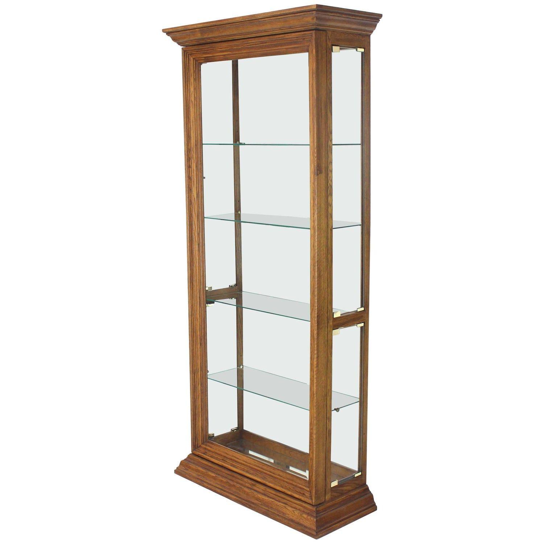 Tall Narrow Side Doors Beveled Glass Oak Curio Display Cabinet