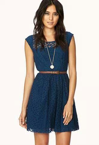 Vestido Corto Azul Con Faja Dresses Vestidos Vestidos