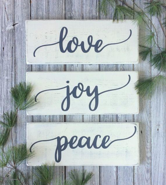 Love Joy Peace Signs Christmas Wood Signs Christmas Decor Rustic Wall Decor Ru Christmas Decorations Rustic Christmas Signs Wood Easy Christmas Diy