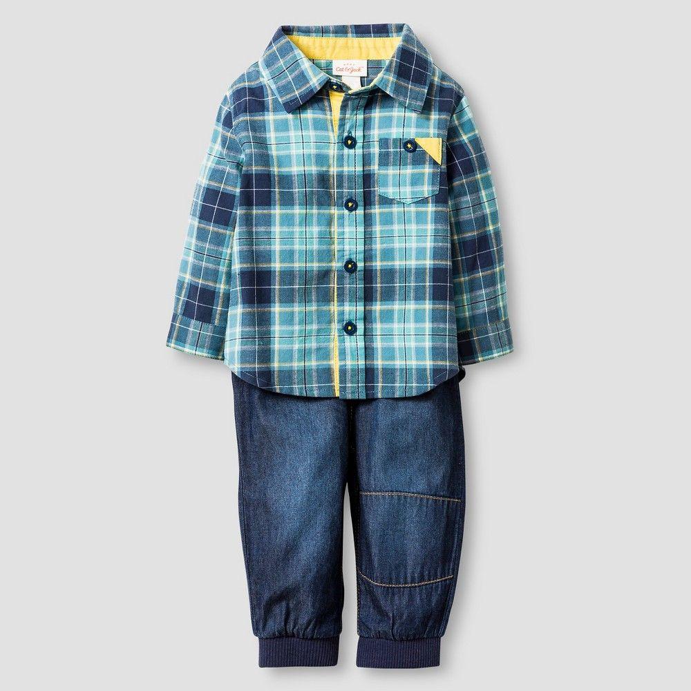 Flannel shirt for baby boy  Baby Boysu Plaid Shirt and Denim Jogger Baby Cat u Jack  Blue M