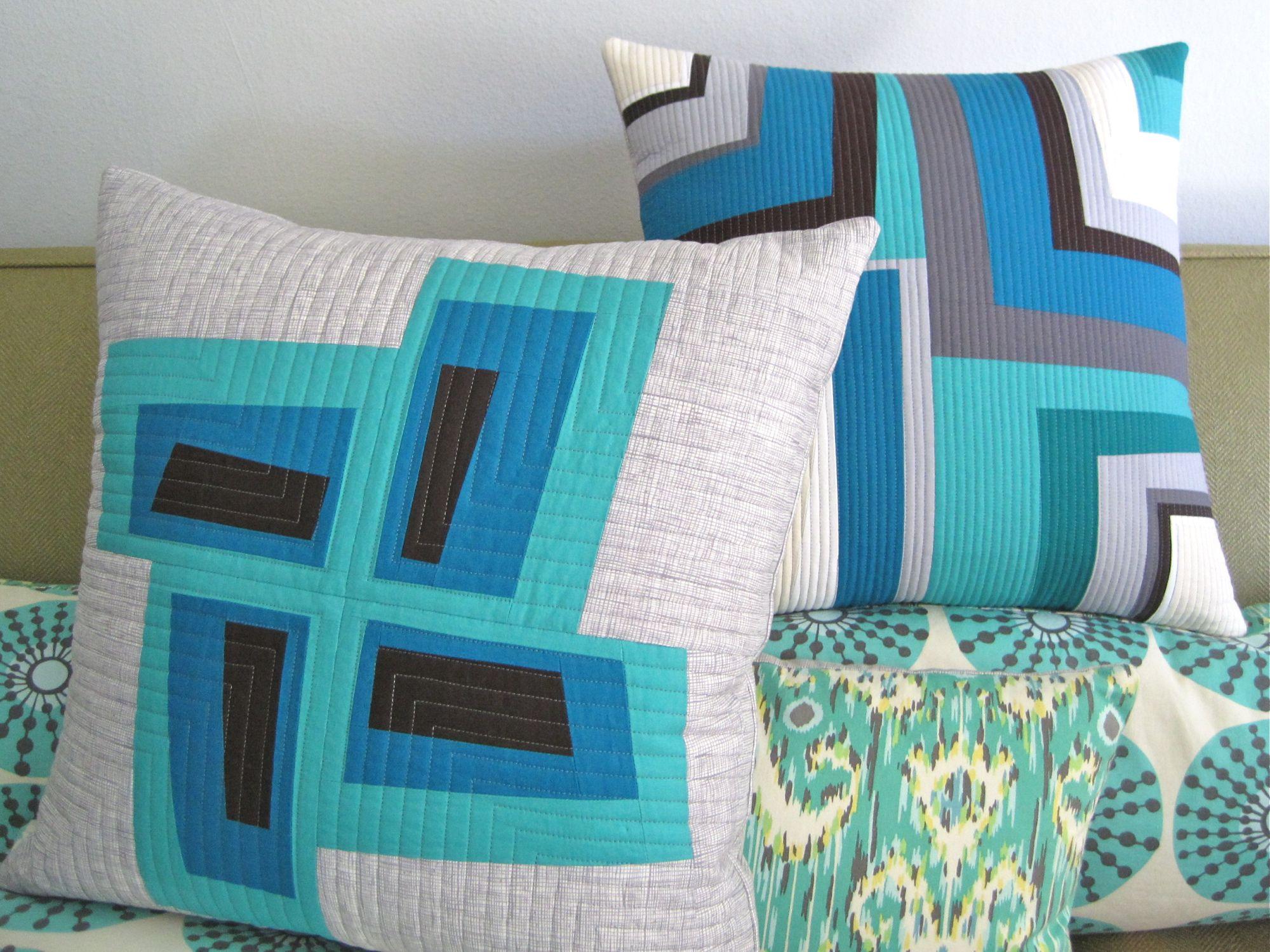 Improv log cabin patchwork pillows seattle