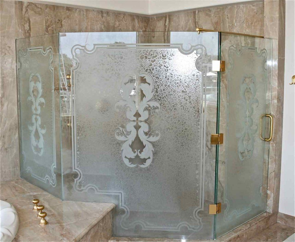 Glass Shower Doors Etched Glass French Design Delicate Iron Bars Florence  Sans Soucie