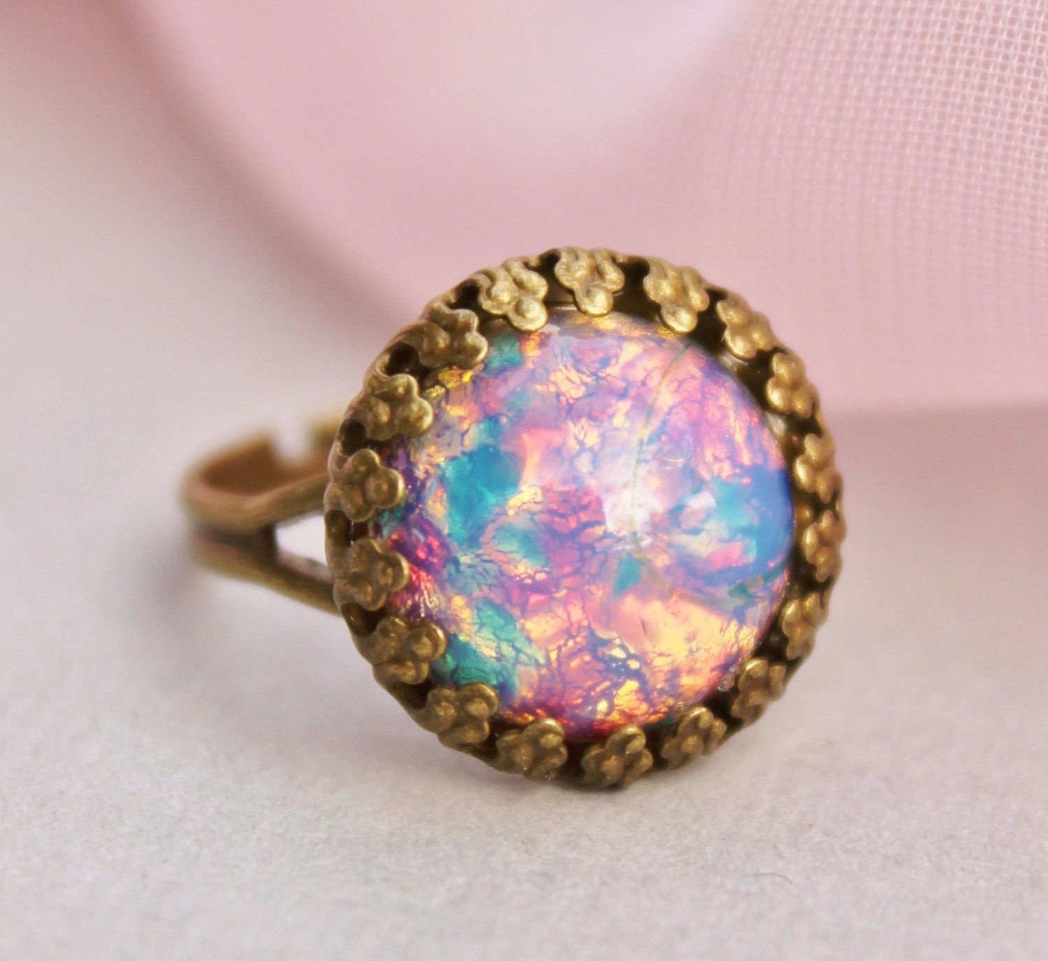 Vintage Fire Opal Ring - Harlequin Glass Opal Adjustable Ring ...