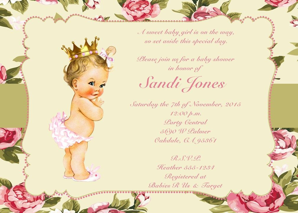 Digital Download Shabby Chic Baby Girl Baby Shower Invitations Print ...