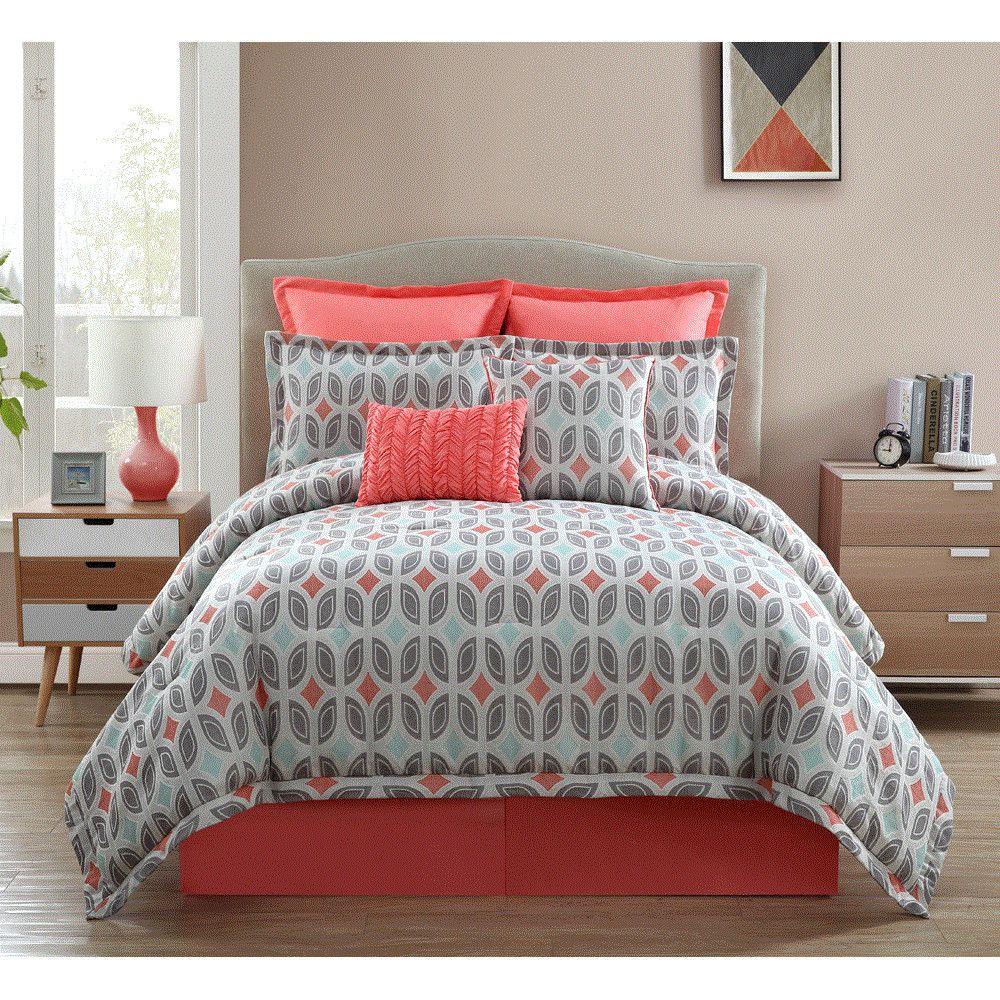 Clairebella Bermuda 9 Piece Comforter Set Grey Bedroom With Pop Of Color Coral Bedroom Comforter Sets