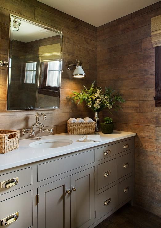 Contemporary Country Bathroom Boasts A Plank Wall Lined With A