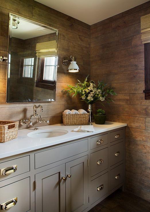 Gray Vanity With Rustic Plank Backsplash Country Bathroom Faux Wood Tiles Wood Tile Bathroom Rustic Bathroom Designs