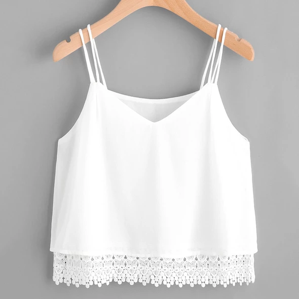 Funic Womens Summer Casual Sleeveless Lace Crop Top Vest Tank Shirt Blouse Cami Top