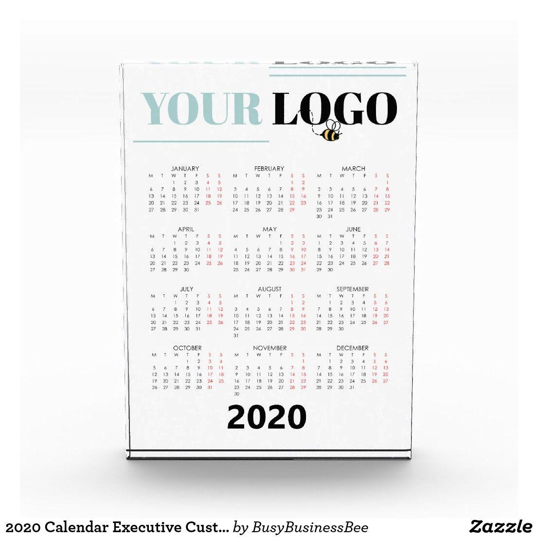 2020 Calendar Executive Custom Business Logo Photo Block Zazzle