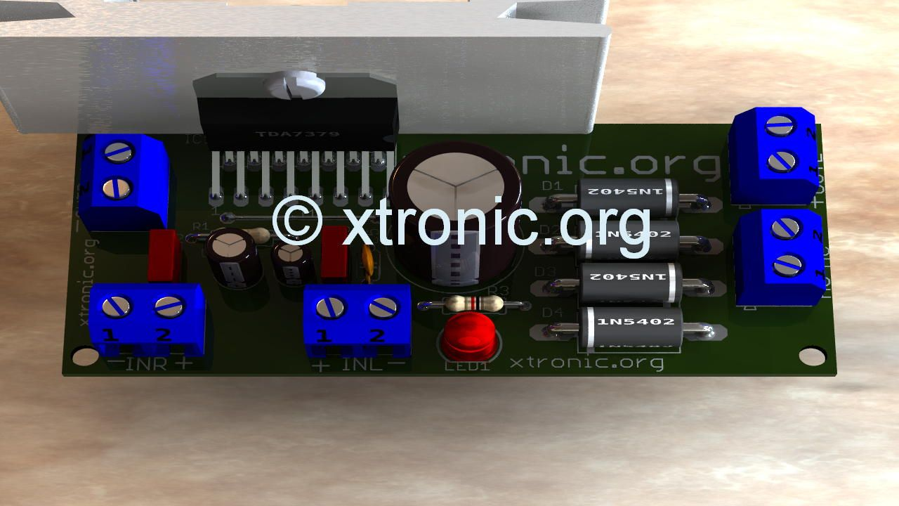 Compact Stereo Audio Power Amplifier Circuit Using Integrated Tda7379 For 2x 38 Watts Uses