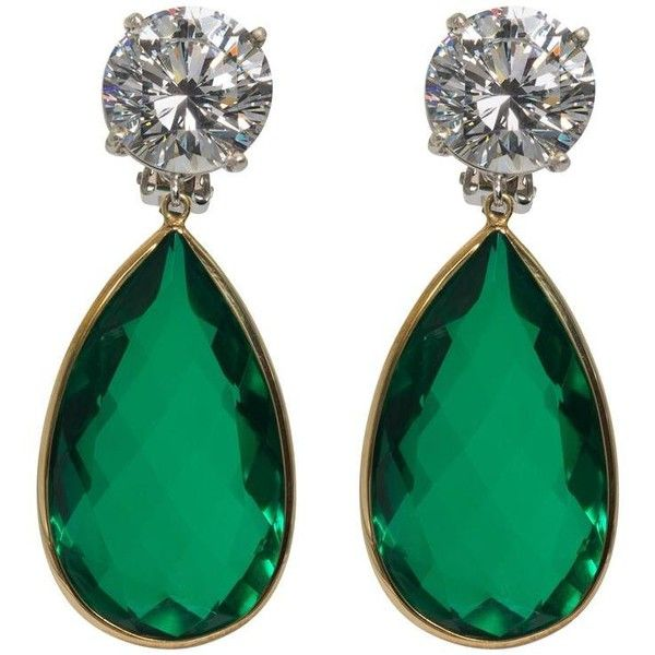 900 Liked On Polyvore Featuring Jewelry Earrings Green Fake Emerald Long Drop And