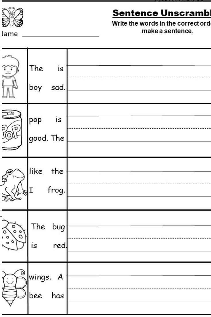 small resolution of Free Kindergarten Writing Printable - kindermomma.com   Writing sentences  worksheets