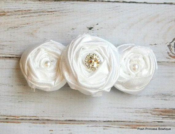 White hair flowers Flower girls hair clip Flower girl Hair Accessory Weddings head piece White baby headband