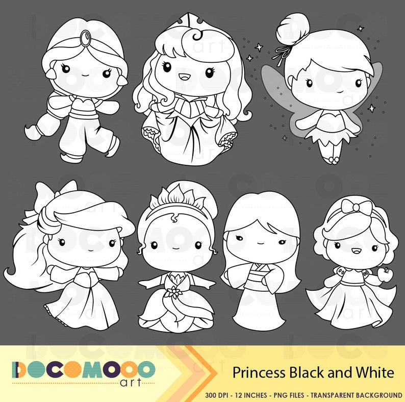 Princess Clipart Fantasy Clip Art Black And White Free Etsy Clip Art Doodle Characters Disney Illustration
