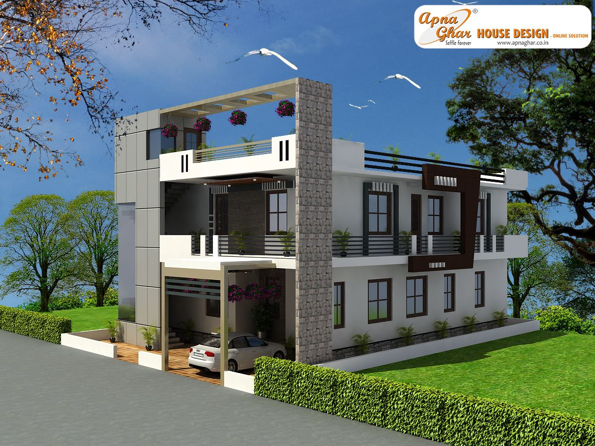 4 bedroom modern duplex 2 floor house design area 216 for Duplex house elevation designs