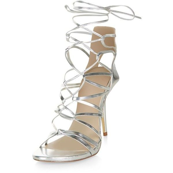 Silver Ghillie Heeled Sandals ($54) ❤ liked on Polyvore featuring shoes, sandals, silver, silver heel sandals, lace up sandals, silver shoes, silver sandals and shiny shoes