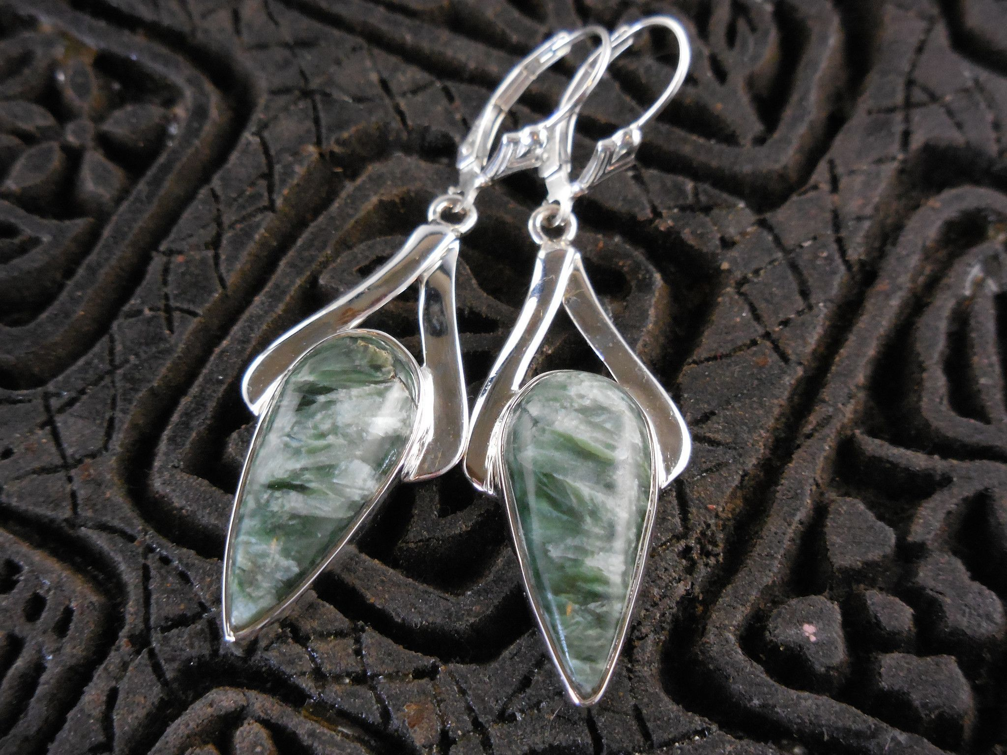 Russian Seraphinite Sterling Silver Earrings